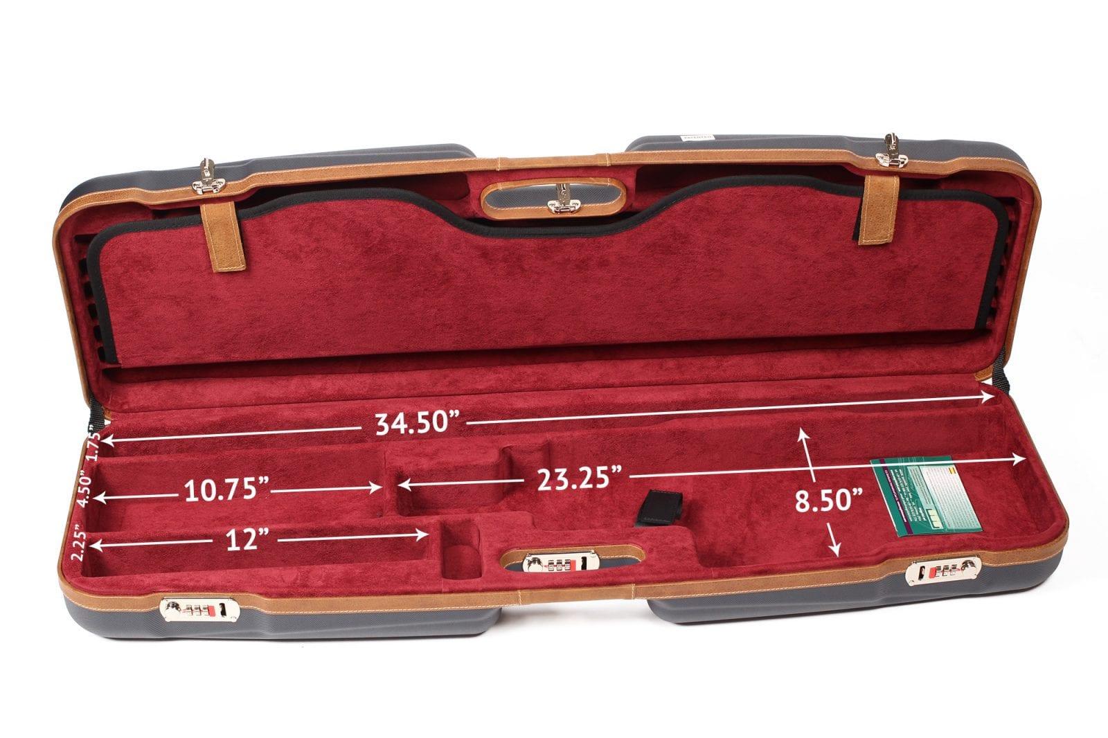 Negrini Shotgun Cases - 1622LX-TS/5228 - High Rib Shotgun case + Tube Sets - bottom dimensions