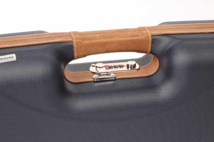 Negrini Gun Cases - Tube Set Case - 1622LX-TS/5228 - Shotgun Hard Case + Tube Sets leather handle upclose