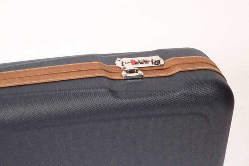 Negrini Gun Cases - 1622LX-TS - Shotgun Hard Case + Tube Sets leather trim and lock closeup