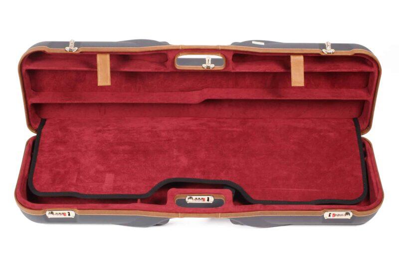 Negrini Gun Cases - 1646LX-4C - Leather trim four barrel shotgun case interior top
