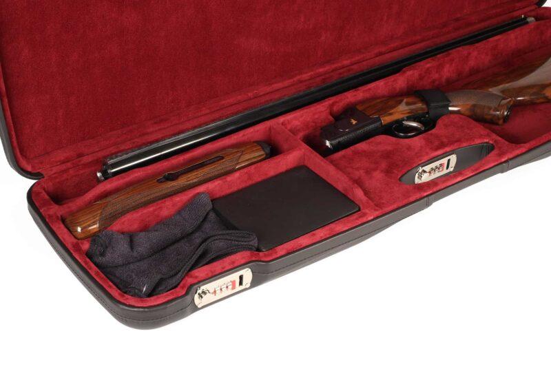 Negrini Sporter Leather shotgun case 1654PL/5246 interior closeup