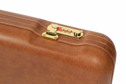 Negrini Gun Cases - 1605PL - Leather shotgun case lock closeup