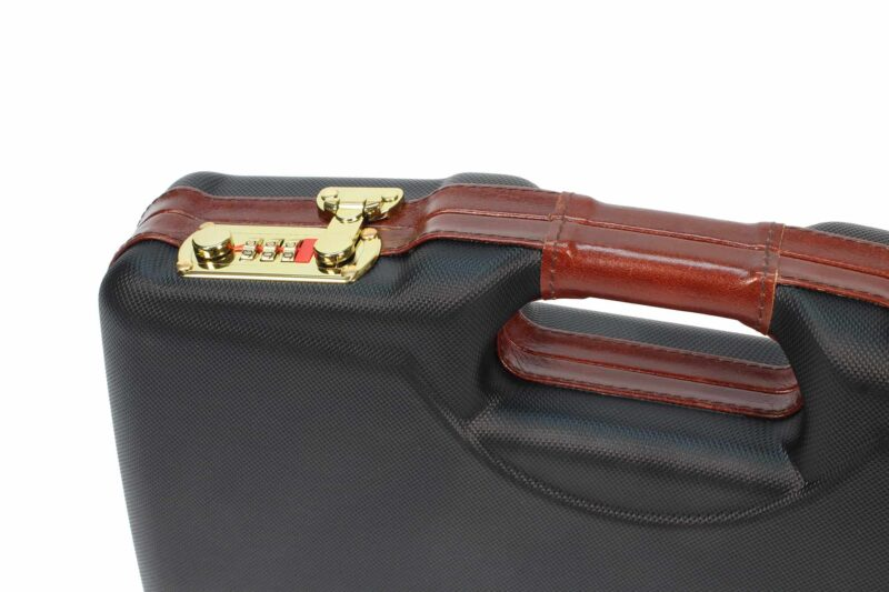Negrini Luxury 1911 Handgun Case - 2018SLX/WOOD lock and handle closeup