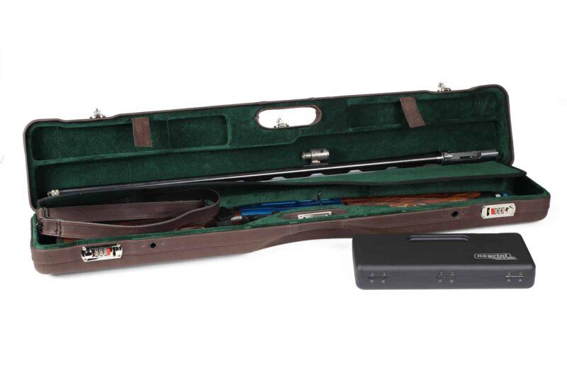 Negrini Luxury Italian Leather UNICASE - Negrini OU/SXS/Auto/Pump UNICASE Luxury Leather Travel Shotgun Case - Beretta A400 Autoloader